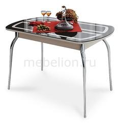 Стол обеденный Милан хром/дуб белфорт/коричневый с рисунком Мебель Трия