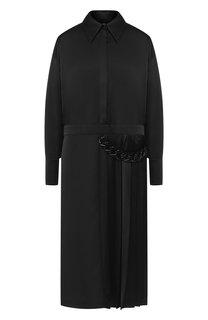 Платье-миди со складками и декоративной отделкой MSGM