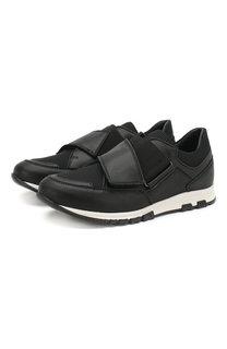Кожаные кроссовки без шнуровки Lanvin