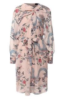 Шелковое платье с поясом принтом Isabel Marant