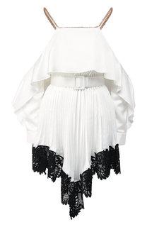 Плиссированное мини-платье с поясом и кружевной отделкой self-portrait