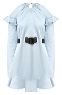 Мини-платье с поясом с оборками self-portrait