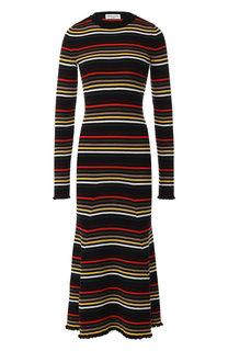 Шерстяное платье-миди в контрастную полоску Sonia Rykiel