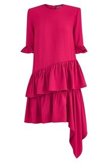 Красное платье с воланами Alexander Mc Queen