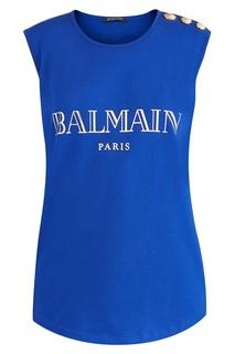 Синий топ с логотипом Balmain