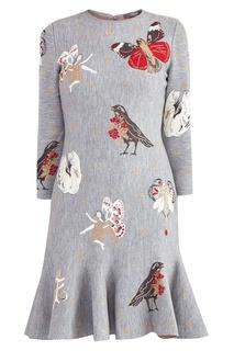 Серое платье с узором Alexander Mc Queen