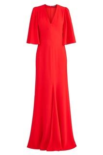 Длинное красное платье Alexander Mc Queen