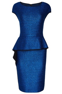 Синее платье с оборкой St. John