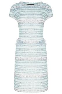 Голубое фактурное платье St. John