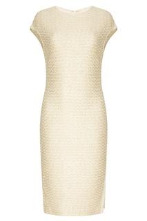 Белое фактурное платье St. John