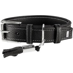 Ошейник Hunter Collar Cannes 50 (34-42см)/2,8см натуральная кожа черный для собак