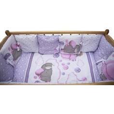 Комплект детского постельного белья AmaroBaby 18-ти предметный (6 + 12 подушек-бортиков) Нежность, сатин, розовый