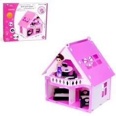 Домик для кукол R&C Дачный дом Варенька бело-розовый (с мебелью)