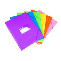 Папка-короб на резинке Бюрократ Tropic -TR520 пластик 0.7мм корешок 40мм A4 330х240х40мм ассорти