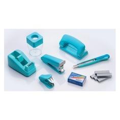 Настольный набор KW-TRIO 6341 Twist, Степлер 24/6, дырокол 20 листов, скобы 24/6, нож канцелярский, скрепочница, антистеплер, диспенсер для клейкой ленты, металл, 7 предметов, ассорти