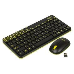 Комплект (клавиатура+мышь) LOGITECH MK240, USB, беспроводной, черный и жёлтый [920-008213]