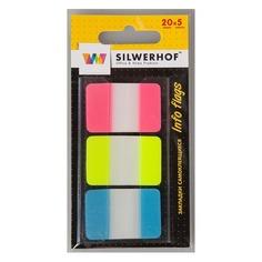 """Закладки самокл. пластиковые Silwerhof 801016 44x12мм 3цв.в упак. 20лист """"Sort"""" диспенсер"""