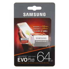 Карта памяти microSDXC UHS-I U3 SAMSUNG EVO PLUS 2 64 ГБ, 100 МБ/с, Class 10, MB-MC64GA/RU, 1 шт., переходник SD