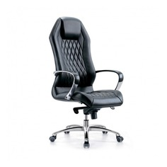 Кресло руководителя БЮРОКРАТ _Aura, на колесиках, кожа, черный [_aura/black]