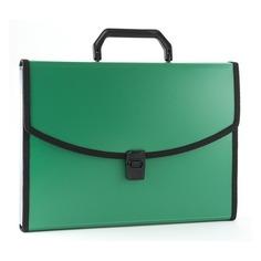 Портфель Бюрократ -BPP13LGRN 13 отдел. A4 с окантовкой пластик 0.7мм зеленый