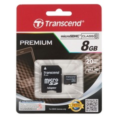 Карта памяти microSDHC TRANSCEND 8 ГБ, Class 10, TS8GUSDHC10, 1 шт., переходник SD