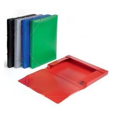 Папка-короб на резинке Бюрократ -BA25/05BLUE пластик 0.5мм корешок 25мм A4 синий
