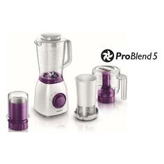 Блендер PHILIPS HR2166/00, стационарный, белый/фиолетовый