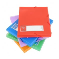 Папка-короб на резинке Бюрократ Crystal -CR510A5 пластик 0.7мм корешок 40мм A5 250х200х25мм ассорти