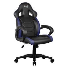 Кресло игровое AEROCOOL AC60C AIR-BB, на колесиках, ПВХ/полиуретан, черный/синий [533916]