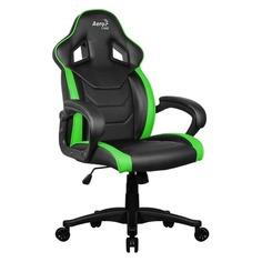 Кресло игровое AEROCOOL AC60C AIR-BG, на колесиках, ПВХ/полиуретан, черный/зеленый [533918]