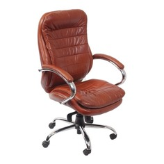 Кресло руководителя БЮРОКРАТ T-9950AXSN, на колесиках, кожа/кожзам [t-9950axsn/brown]