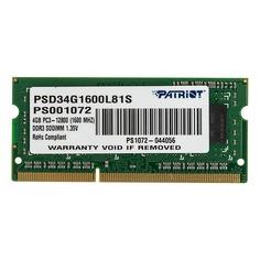 Модуль памяти PATRIOT PSD34G1600L81S DDR3L - 4Гб 1600, SO-DIMM, Ret Патриот