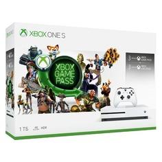 Игровая консоль MICROSOFT Xbox One S с 1 ТБ памяти, Абонемент Xbox Game Pass сроком на 3мес. и Золотой статус Xbox Live Gold на 3мес., 234-00357, белый
