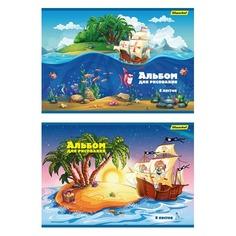 Альбом для рисования Silwerhof 442042/911146-14 8л. A4 Пираты 2диз. мел.картон офс.лак скрепка