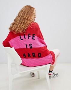 Кардиган с надписью life is hard Lazy Oaf - Мульти