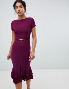 Платье-футляр ягодного цвета с короткими рукавами, оборками и поясом Paper dolls - Фиолетовый