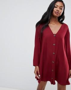 Платье-трапеция мини на пуговицах с длинными рукавами ASOS DESIGN - Красный