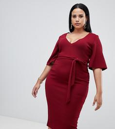 Красной платье миди с глубоким вырезом Missguided Plus - Красный