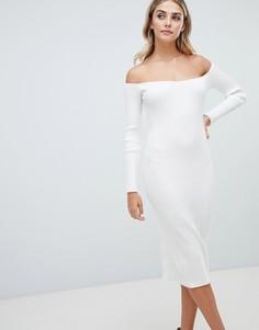 Платье миди в рубчик с открытыми плечами Missguided - Белый