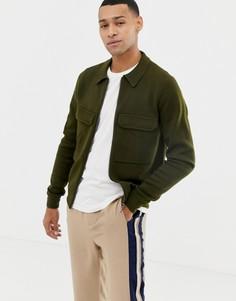 Кардиган на молнии с мериносовой шерстью и накладными карманами Ted Baker - Зеленый