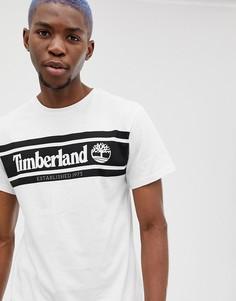 Белая узкая футболка в полоску с логотипом Timberland - Белый