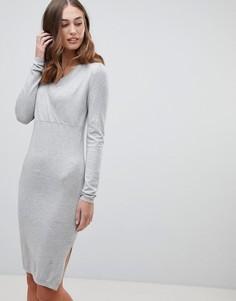 Трикотажное платье запахом Mamalicious - Серый Mama.Licious