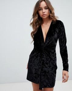 Черное бархатное платье мини с глубоким вырезом Missguided - Черный