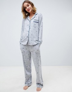 Пижамный комплект с принтом в подарочном наборе DKNY - Серый