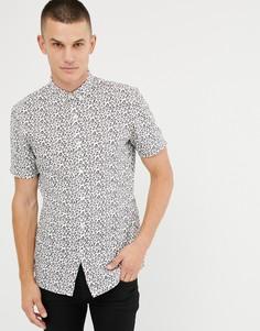 Рубашка на пуговицах с короткими рукавами и леопардовым принтом Tom Tailor - Кремовый