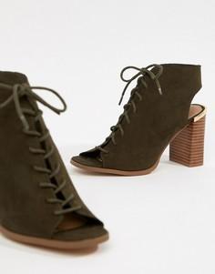 Босоножки на каблуке и шнуровке ASOS DESIGN Truly - Зеленый