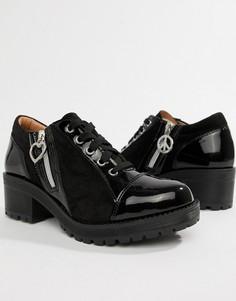 Туфли на каблуке с молнией сбоку Love Moschino - Черный