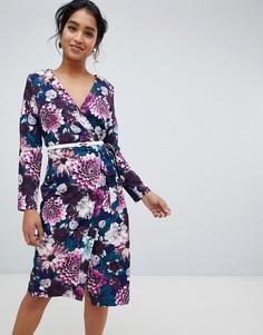 Платье миди с запахом и цветочным принтом Paper Dolls - Мульти