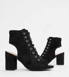 Черные босоножки на каблуке и шнуровке New Look Wide Fit - Черный