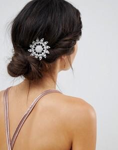 Брошь и заколка для волос со стразами и цветочным дизайном ASOS DESIGN - Серебряный